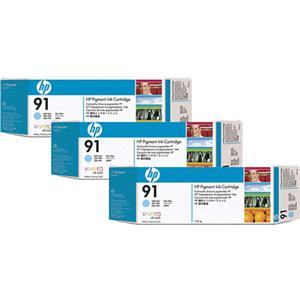 HP 91 3 Pack 775-ml Light Cyan Ink Cartridges C9486A