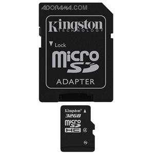 Kingston 32GB Micro SDHC Class 4 Card with SD Adaptr: Picture 1 regular