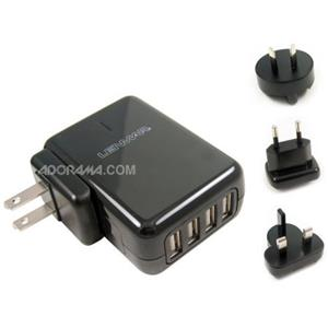 Lenmar AC Travel Adaptr for 4 USB Devices, Black: Picture 1 regular