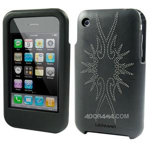 Lenmar iPhone 3G Case, Faux Leather, Flare Design Black: Picture 1 regular