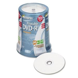 Memorex 5642 4.7GB/16X Inkjet Printable DVD-R, 100 Pack: Picture 1 regular