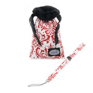 Mod Red and White Damask Compact Camera Pouch and Strap MOD299