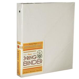 Michael Roger White Woven Cloth 3-Ring Binder (1