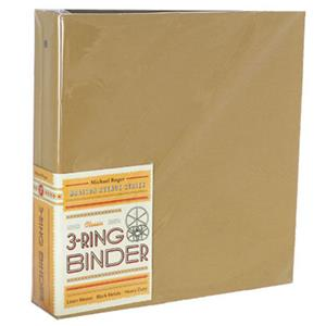 Michael Roger Tan Woven Cloth 3-Ring Binder (2