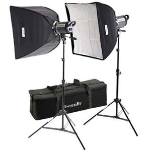 Interfit INT457 Stellar XD Twin Softbox Kit Lightstands: Picture 1 regular