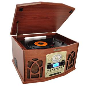 Pyle PTCDS7UI Retro Vintage Turntable System, Wood Finish: Picture 1 regular