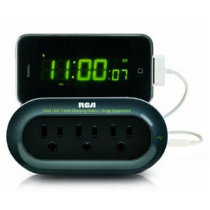 RCA Portable Charging Station, 2 USB, 3 Power, Black: Picture 1 regular
