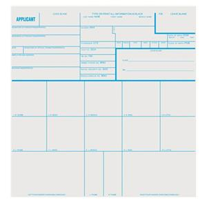 Sirchie Applicant Record Cards