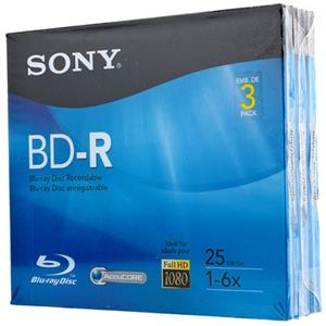 Sony BD-R 6x 25GB Recordable Disc 3BNR25R3H
