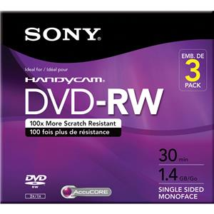 Sony 8cm 1.4GB DVD-RW Rewriteable Media, 3 Pack: Picture 1 regular