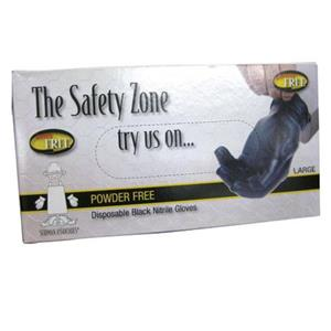 The Safety Zone 5 Mil Black Nitrile Powder Free Gloves, 100/Box, Small: Picture 1 regular