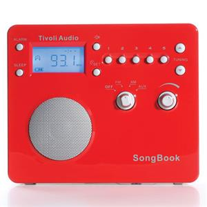 Tivoli Audio SongBook SBRS AM/FM Alarm Clock Travel Radio, High Gloss Red/Silver: Picture 1 regular