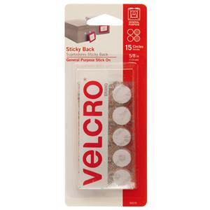 "Velcro 5/8"" White Sticky Back Hook and Loop Dot Fasteners 90070"
