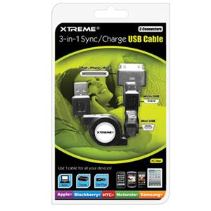 Xtreme Cables 3-in-1 3' Retractable Sync & Charge USB Cable 88903