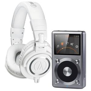 $224.99 Audio-Technica ATH-M50x Pro Monitor Headphones, White W/FiiO X3 Audio Player