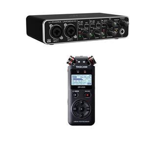 Behringer U-Phoria UMC204HD Audiophile 2x4 USB Audio/MIDI Interface with MIDAS Mic Preamplifiers + Tascam DR-05X Stereo Handheld Digital-Audio Recorder