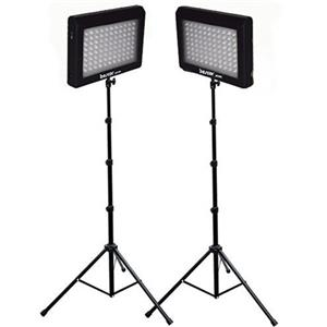 Bescor LED-95DK2 LED Video Light Kit with Two LED Light Panels, Two Pieces Floor Stands and Two AC Adaptors