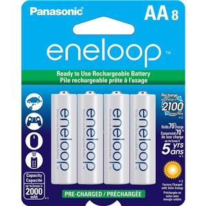 8-Pack Panasonic BK-3MCCA8BA Eneloop AA 2000mAh Rechargeable Batteries