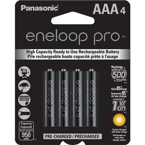 4-Pack Panasonic BK-4HCCA4BA AAA Eneloop Rechargeable Batteries