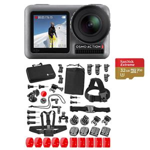 DJI Osmo Dual Screen 12.0 MP 4K Ultra HDR Waterproof Action Camera (Black) + SanDisk 32GB Memory Card + Camera Accessory Set