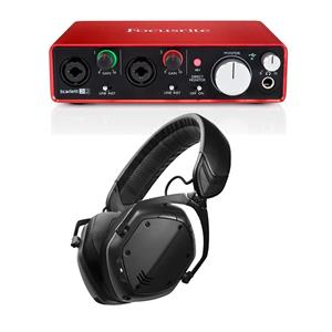 Focusrite Scarlett 2i2 2nd Gen USB Audio Interface with 2x Scarlett Mic + V-Moda Crossfade Headphone