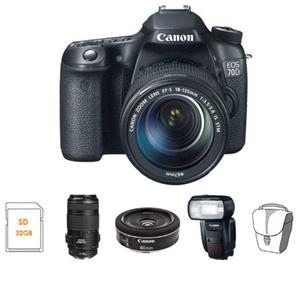 8469B016 HS1 Canon EOS 70D DSLR Camera 3 Lens Kit with EFS 18135mm