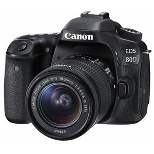 Canon EOS 80D 24.2MP Full HD 1080p Digital SLR Camera with EF-S 18-55mm f/3.5-5.6 IS STM Lens (Black) - Refurbished