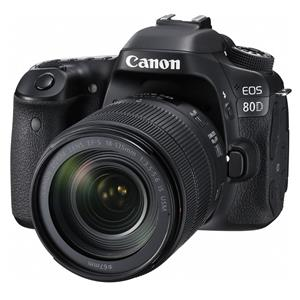 Canon EOS 80D 24.2MP HD Digital SLR Camera with 18-135mm f/3.5-5.6 IS USM Lens (Black) - Manufacturer Refurbished