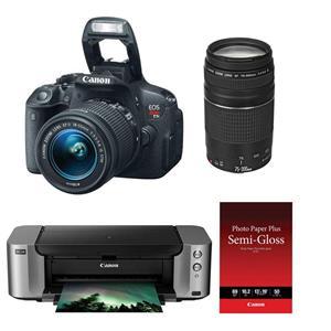 Canon EOS Rebel T5i 18MP Digital SLR with 18-55mm Lens + Canon 75-300mm Lens + PIXMA PRO-100 Printer + Photo Paper + Shoulder Bag