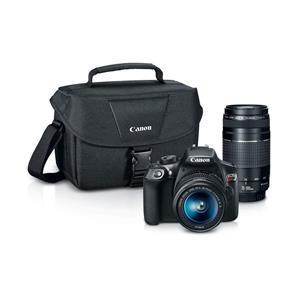 Canon EOS Rebel T6 18MP HD Digital SLR Camera with 18-55mm and 75-300mm Lenses Kit - Black + Photo Inkjet Printer + Photo Paper Pro Luster