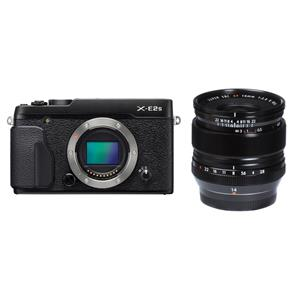 Fujifilm X-E2S 16.3MP Full HD 1080p Wi-Fi Mirrorless Digital Camera Body (Black) + F2.8 R Lens + Metal Hand Grip + Shoulder Bag