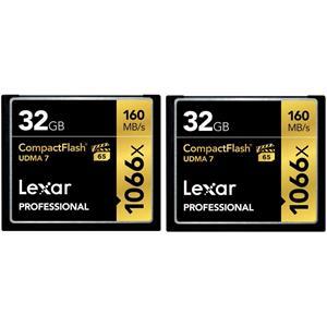 2-Pack Lexar 32GB UDMA 7 1000x CompactFlash Memory Card
