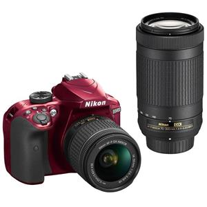 Refurb Nikon D3400 DSLR w/18-55mm, 70-300mm & 55-200mm Lens