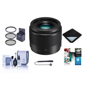 Panasonic Lumix 25mm f/1.7 Lens + ProOPTIC 46mm Filter Kit + Optics Care and Cleaning Kit + Cap Tether + 15x15