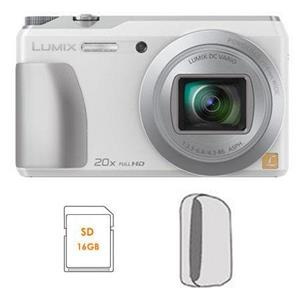 Panasonic DMC-ZS35W 16MP HD Digital Camera with 20x Optical Zoom (White) - Refurbished + Camera Case + 16GB SDHC Memory Card