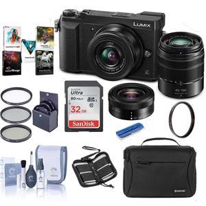 Panasonic Lumix DMC-GX85 Mirrorless Micro Four Thirds Digital Camera with 12-32mm and 45-150mm Lenses (Black) + Camera Bag + 32GB Memory Card + 37mm Filter + Cleaning Kit + Memory Card Wallet