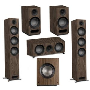 Jamo S 809 Floorstanding Speakers (Pair) + S 81 Center + S 801 Bookshelf Speakers (Pair) + S 810 Subwoofer (Walnut)