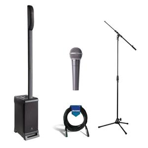 JBL EON ONE PRO All-in-One Rechargeable Linear Array PA System + Shure Dynamic Microphone + Ultimate Support Tripod Microphone Stand + On-Stage 20' Microphone Cable