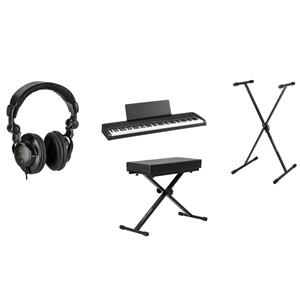 Korg B2 88-Key Digital Piano (Black) + H&A Closed-Back Studio Monitor Headphones + On-Stage Deluxe X-Style Keyboard Bench + On-Stage KSP100 Keyboard Sustain Pedal + Ultimate Support JamStands JS-XS300 X-Style Stand