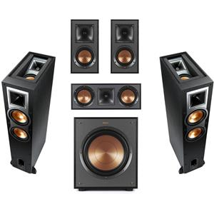 Klipsch R-26FA Dolby Atmos Floorstanding Speaker (Black) + Klipsch R-26FA Dolby Atmos Speaker + Klipsch Reference RP-250C 2-Way Center Speaker + Klipsch R-41M Bookshelf Home Speakers (Pair) + Klipsch R-120SW Subwoofer