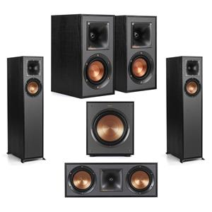 Klipsch R-610F Floorstanding Home Speaker + Klipsch R-610F Floorstanding Speaker + Klipsch R-52C Two-Way Center Channel Speaker + Klipsch R-100SW 300W Subwoofer + Klipsch R-41M Bookshelf Home Speakers (Pair)