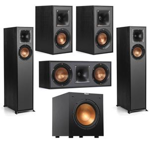 Klipsch R-610F Floorstanding Home Speaker + Klipsch Reference R-52C Two-Way Center Channel Speaker + Klipsch R-41M Bookshelf Home Speakers (Pair) + Klipsch Reference R-10SW 10