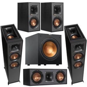 Klipsch Reference R-625FA Dolby Atmos Floorstanding Speaker (Black) + Klipsch R-625FA Floor Standing Speaker + Klipsch Reference R-52C Two-Way Center Channel Speaker + Klipsch R-41M Bookshelf Speakers (Pair) + Klipsch R-12SW 12
