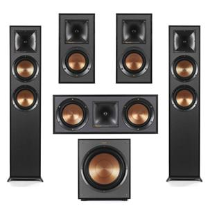 Klipsch Reference R-625FA Dolby Atmos Floorstanding Speaker + Klipsch Floor Standing Speaker + Klipsch Bookshelf Speaker Pair + Klipsch Two-Way Center Channel Speaker + Klipsch R-120SW Subwoofer