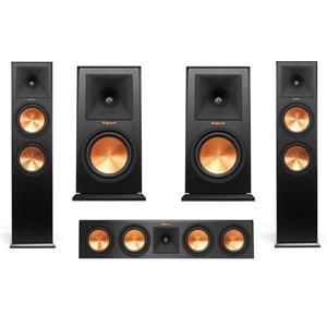 2-Pack Klipsch Reference Premiere RP-280F 600W 2-Way Floorstanding Speaker (Ebony) + Bookshelf Speaker + Center Speaker