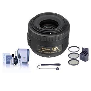 Nikon AF-S DX NIKKOR 35mm f/1.8G Lens + ProOPTIC 52mm Filter Kit + ProOPTIC Lens Cap Tether + ProOPTIC Optics Care and Cleaning Kit