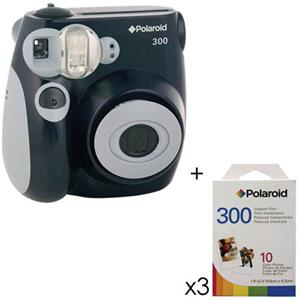 Polaroid PIC 300 Instant Camera Analog Black BUNDLE w/3