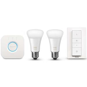Philips Hue White Ambiance Starter Kit with 2 A19 Bulbs, 1 Bridge & 1 Dimmer Switch - Manufacturer Refurbished