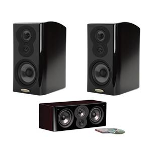 Polk Audio LSi M704c Center Channel Speaker (Midnight Mahogany) - Open Box + Polk Audio 2x LSiM703 Bookshelf Loudspeaker