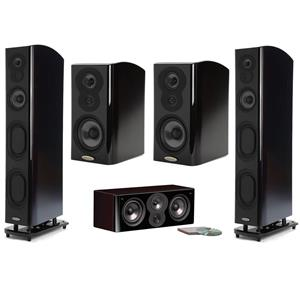 Polk Audio LSiM 707 Flagship Floor Standing Speaker (Black) + LSi M704c Speaker + 2-PK LSiM 703 Speaker